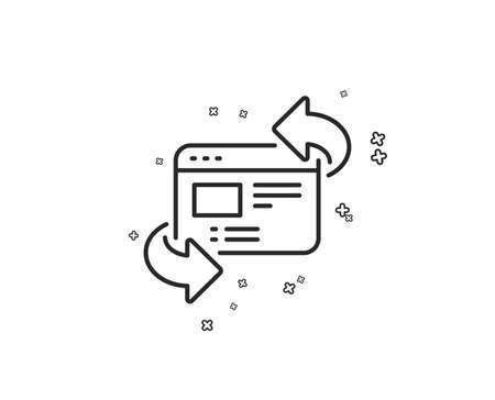 Refresh website line icon. Update web page sign. Geometric shapes. Random cross elements. Linear Refresh website icon design. Vector