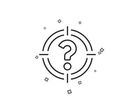 Target with Question mark line icon. Aim symbol. Help or FAQ sign. Geometric shapes. Random cross elements. Linear Headhunter icon design. Vector