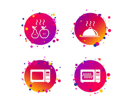 Microwave grill oven icons. Cooking apple and pear signs. Food platter serving symbol. Gradient circle buttons with icons. Random dots design. Vector