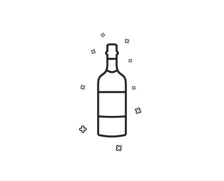 Brandy bottle line icon. Whiskey alcohol sign. Geometric shapes. Random cross elements. Linear Brandy bottle icon design. Vector