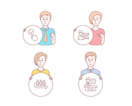 People hand drawn style. Set of Queue, Checkbox and Success business icons. Presentation time sign. People waiting, Approved, Growth chart. Report. Character hold circle button. Man with like hand