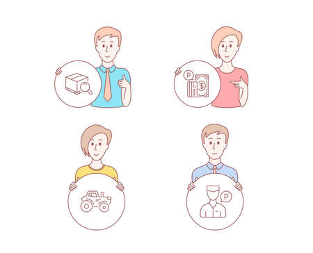 People hand drawn style. Set of Search package, Tractor and Parking payment icons. Valet servant sign. Tracking service, Farm transport, Paid garage. Parking man.  Character hold circle button Illustration