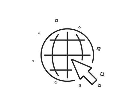 Globe with mouse cursor line icon. World or Earth sign. Global Internet symbol. Geometric shapes. Random cross elements. Linear Internet icon design. Vector