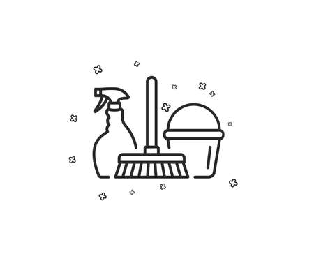 Cleaning service line icon. Spray, bucket and mop symbol. Housekeeping equipment sign. Geometric shapes. Random cross elements. Linear Household service icon design. Vector