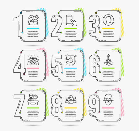 Infographic template with numbers 9 options. Set of Crowdfunding, Group and Presentation time icons. Face id, Gift and Like signs. Cleaning, Hold smartphone and Face recognition symbols. Vector