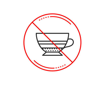 No or stop sign. Mocha coffee icon. Hot drink sign. Beverage symbol. Caution prohibited ban stop symbol. No  icon design.  Vector