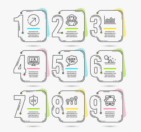 Infographic template with numbers 9 options. Set of Money diagram, Skin moisture and Uv protection icons. Online video, Direction and Customer satisfaction signs. Quick tips, Group and Bus symbols  イラスト・ベクター素材