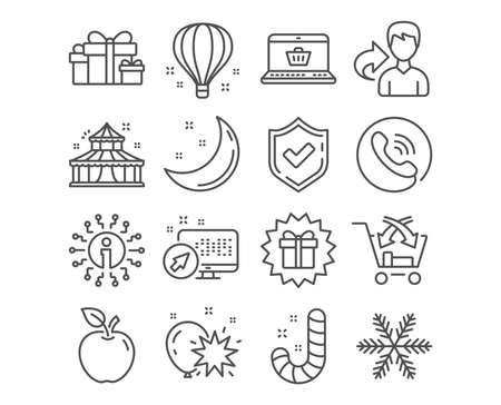 Set of Candy, Air balloon and Balloon dart icons. Snowflake, Online shopping and Circus signs. Surprise gift, Holiday presents and Cross sell symbols. Lollypop, Sky travelling, Attraction park Illustration