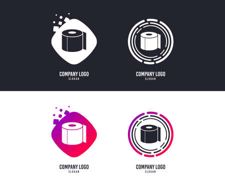 Toilet paper sign icon. WC roll symbol.  Colorful buttons with icons. Vector
