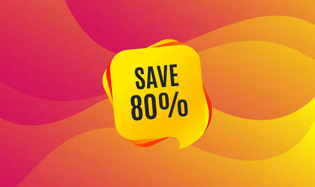 Save 80% off. Sale Discount offer price sign. Special offer symbol. Wave background. Abstract shopping banner. Template for design. Vector