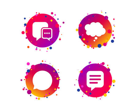 Chat icons. Comic speech bubble signs. Communication think symbol. Gradient circle buttons with icons. Random dots design. Vector