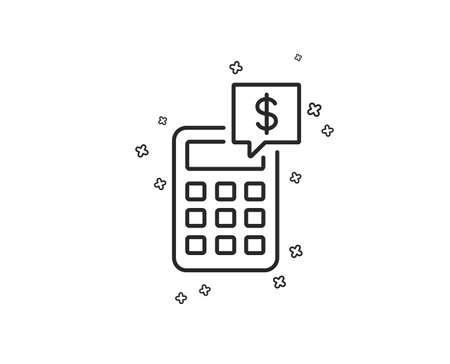 Icône de ligne de calculatrice. Signe de comptabilité. Calculer le symbole financier. Formes géométriques. Éléments croisés aléatoires. Conception d'icône de calculatrice linéaire. Vecteur Vecteurs