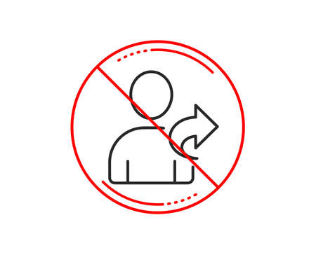 No or stop sign. Refer a friend line icon. Share sign. Caution prohibited ban stop symbol. No  icon design.  Vector Фото со стока - 114449400