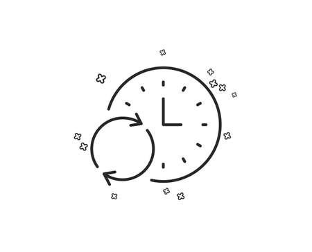 Icono de línea de tiempo. Actualizar el reloj o el símbolo de fecha límite. Signo de gestión del tiempo. Formas geométricas. Elementos cruzados aleatorios. Diseño de icono de tiempo de actualización lineal. Vector