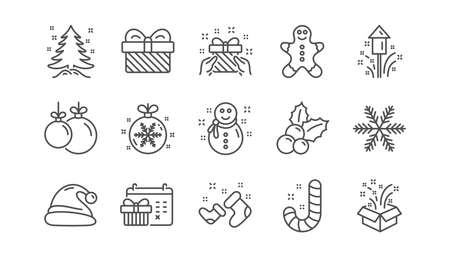 Christmas line icons. Santa hat, Snowflake and Gift box. New year linear icon set.  Vector Illustration