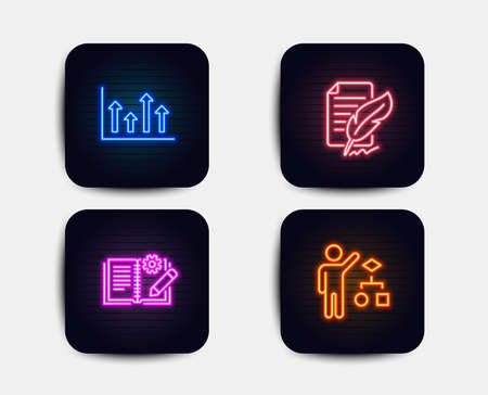 Neon glow lights. Set of Upper arrows, Engineering documentation and Feather signature icons. Algorithm sign. Growth infochart, Manual, Feedback. Developers job.  Neon icons. Glowing light banners Illustration