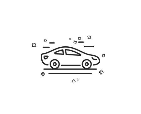 Car transport line icon. Transportation vehicle sign. Driving symbol. Geometric shapes. Random cross elements. Linear Car icon design. Vector