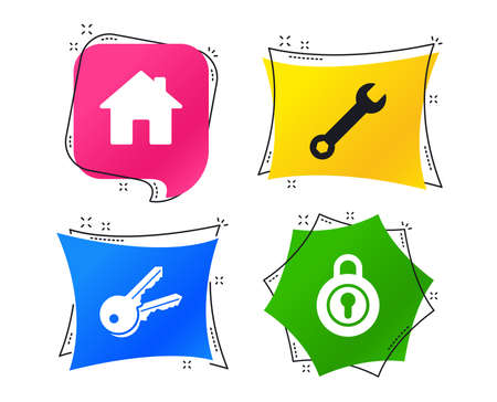 Home key icon. Wrench service tool symbol. Locker sign. Main page web navigation. Geometric colorful tags. Banners with flat icons. Trendy design. Vector Vetores