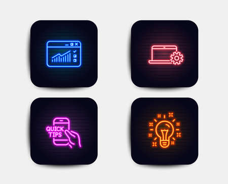 Neon glow lights. Set of Web traffic, Notebook service and Education icons. Idea sign. Website window, Computer repair, Quick tips. Creativity.  Neon icons. Glowing light banners. Vector Vettoriali
