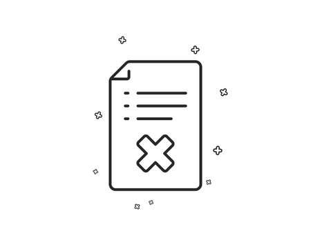 Reject file line icon. Decline document sign. Delete file. Geometric shapes. Random cross elements. Linear Reject file icon design. Vector