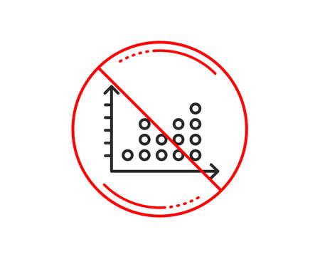 No or stop sign. Dot plot graph line icon. Presentation chart sign. Market analytics symbol. Caution prohibited ban stop symbol. No  icon design.  Vector
