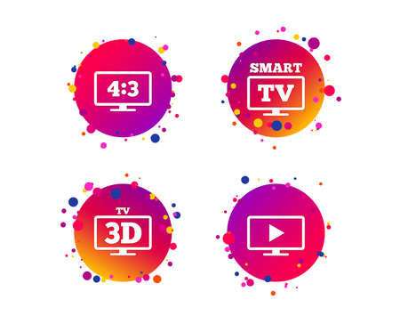 Smart TV mode icon. Aspect ratio 4:3 widescreen symbol. 3D Television sign. Gradient circle buttons with icons. Random dots design. Vector Illustration