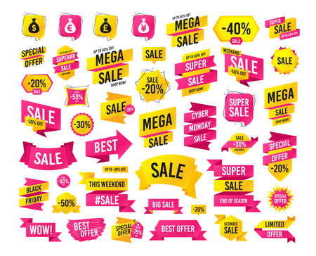 Sale banner. Super mega discounts. Money bag icons. Dollar, Euro, Pound and Yen symbols. USD, EUR, GBP and JPY currency signs. Black friday sale. Cyber monday. Vector