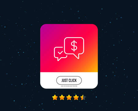 Payment receive line icon. Dollar exchange sign. Finance symbol. Web or internet line icon design. Rating stars. Just click button. Vector
