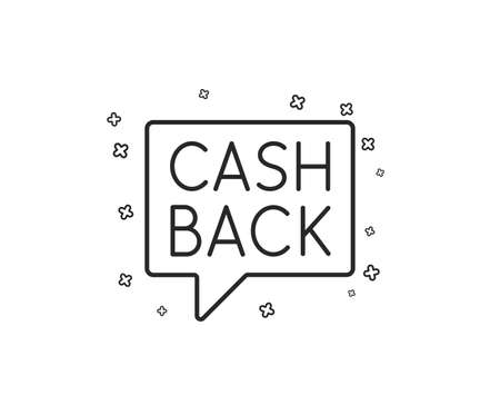 Cashback service line icon. Money transfer sign. Speech bubble symbol. Geometric shapes. Random cross elements. Linear Money transfer icon design. Vector Standard-Bild - 126565580