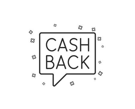 Cashback service line icon. Money transfer sign. Speech bubble symbol. Geometric shapes. Random cross elements. Linear Money transfer icon design. Vector