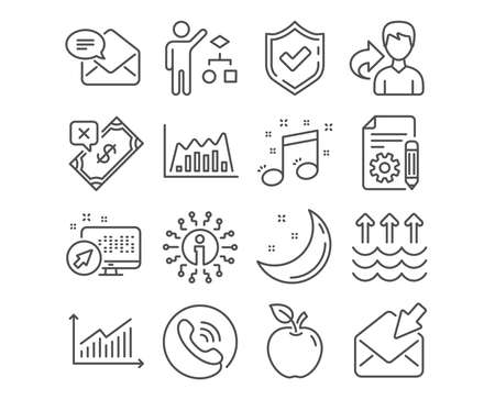 Set of Documentation, Musical note and Algorithm icons. Graph, Infographic graph and Open mail signs. Rejected payment, Evaporation and New mail symbols. Project, Music, Developers job. Vector