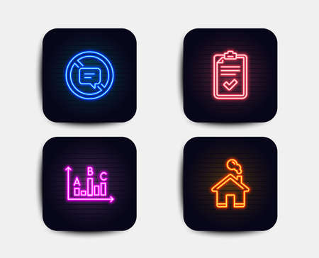 Neon glow lights. Set of Checklist, Survey results and Stop talking icons. Home sign. Survey, Best answer, Do not talk. House building.  Neon icons. Glowing light banners. Vector Illustration