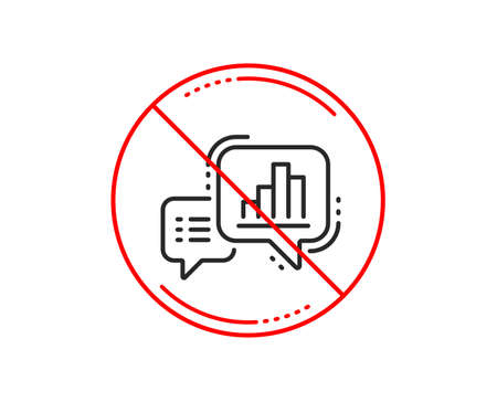 No or stop sign. Graph line icon. Column chart sign. Growth diagram symbol. Caution prohibited ban stop symbol. No  icon design.  Vector