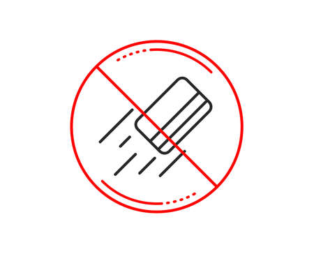 No or stop sign. Credit card line icon. Payment sign. Finance symbol. Caution prohibited ban stop symbol. No  icon design.  Vector