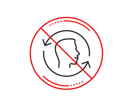 No or stop sign. Face scanning repeat line icon. Face id update sign. Head symbol. Caution prohibited ban stop symbol. No  icon design.  Vector