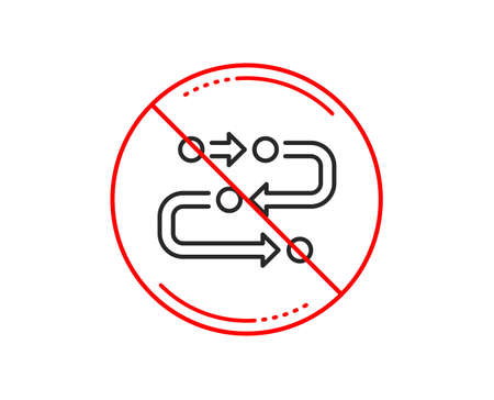 No or stop sign. Methodology line icon. Development process sign. Strategy symbol. Caution prohibited ban stop symbol. No  icon design.  Vector Illustration