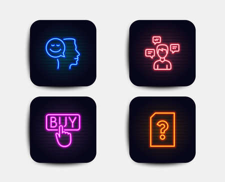 Neon glow lights. Set of Buying, Conversation messages and Good mood icons. Unknown file sign. E-commerce shopping, Communication, Positive thinking. Doc with question mark.  Neon icons. Vector