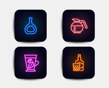 Neon set of Mint leaves, Cognac bottle and Coffeepot icons. Whiskey glass sign. Mentha leaf, Brandy alcohol, Brewed coffee. Neon icons. Glowing light banners. Vector