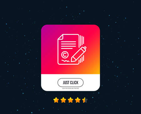 Copywriting line icon. Ð¡opyright signature sign. Feedback symbol. Web or internet line icon design. Rating stars. Just click button. Vector
