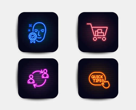 Neon glow lights. Set of Internet shopping, Face verified and User communication icons. Quick tips sign. Cart with purchases, Access granted, Human resources. Helpful tricks.  Neon icons. Vector Illustration