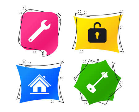 Home key icon. Wrench service tool symbol. Locker sign. Main page web navigation. Geometric colorful tags. Banners with flat icons. Trendy design. Vector 向量圖像