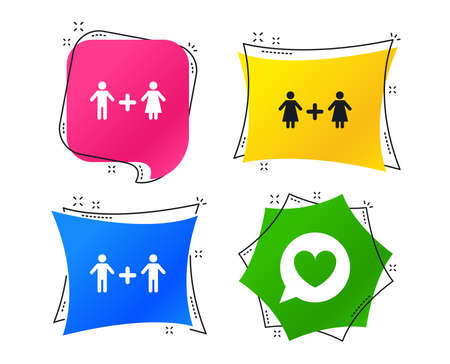Couple love icon. Lesbian and Gay lovers signs. Romantic homosexual relationships. Speech bubble with heart symbol. Geometric colorful tags. Banners with flat icons. Trendy design. Vector