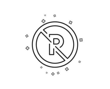 No parking line icon. Car park not allowed sign. Transport garage symbol. Geometric shapes. Random cross elements. Linear No parking icon design. Vector Illustration