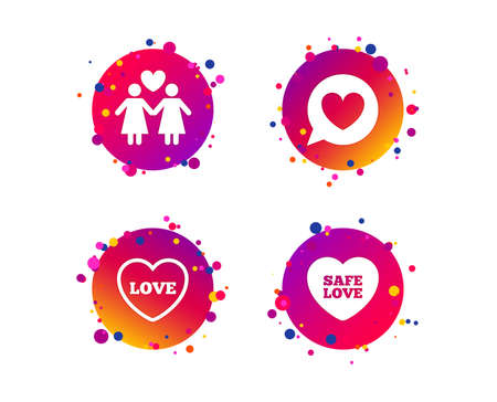 Lesbians couple sign. Speech bubble with heart icon. Female love female. Heart symbol. Gradient circle buttons with icons. Random dots design. Vector
