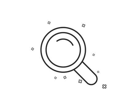 Search line icon. Magnifying glass sign. Enlarge tool symbol. Geometric shapes. Random cross elements. Linear Search icon design. Vector Çizim
