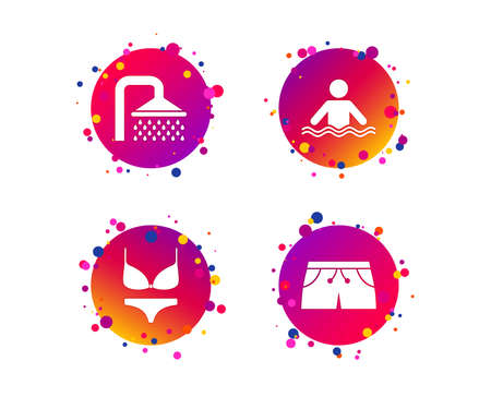 Swimming pool icons. Shower water drops and swimwear symbols. Human stands in sea waves sign. Trunks and women underwear. Gradient circle buttons with icons. Random dots design. Vector