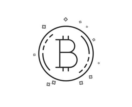 Bitcoin line icon. Cryptocurrency coin sign. Crypto money symbol. Geometric shapes. Random cross elements. Linear Bitcoin icon design. Vector Ilustracja