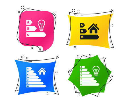 Energy efficiency icons. Lamp bulb and house building sign symbols. Geometric colorful tags. Banners with flat icons. Trendy design. Vector Illusztráció