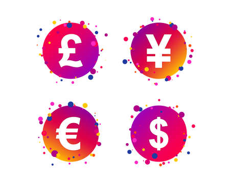 Dollar, Euro, Pound and Yen currency icons. USD, EUR, GBP and JPY money sign symbols. Gradient circle buttons with icons. Random dots design. Vector 向量圖像