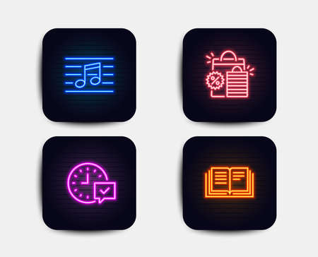 Neon set of Shopping bags, Musical note and Select alarm icons. Education sign. Sale discount, Music, Time symbol. Instruction book. Neon icons. Glowing light banners. Vector Stock Illustratie